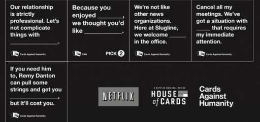 "Cards Against Humanity Teams With Netflix To Create ""House Of Cards"" Against Humanity"