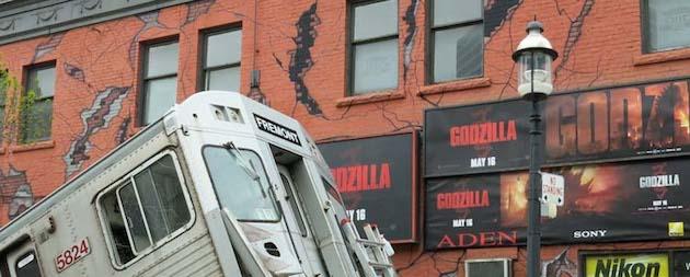 Godzilla starring Aaron Taylor-Johnson, Elizabeth Olsen, Bryan Cranston takes over a Toronto street