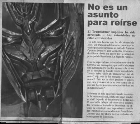 transformers age of extinction viral marketing newspaper_barcelona