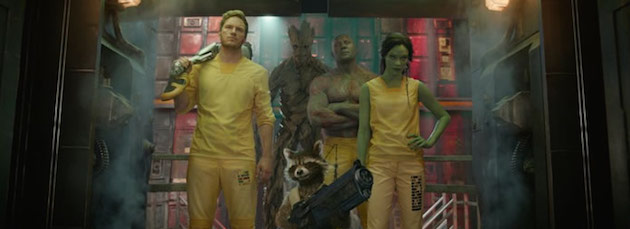 Guardians of the Galaxy stars Chris Pratt, Vin Diesel, Bradley Cooper, and Zoe Saldana